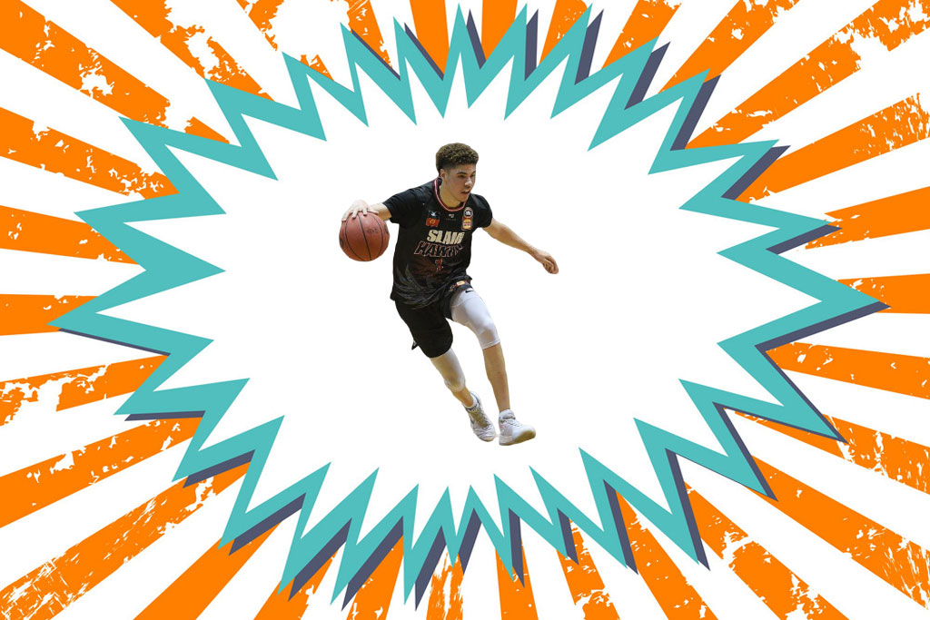 Lamelo Ball in comic book background