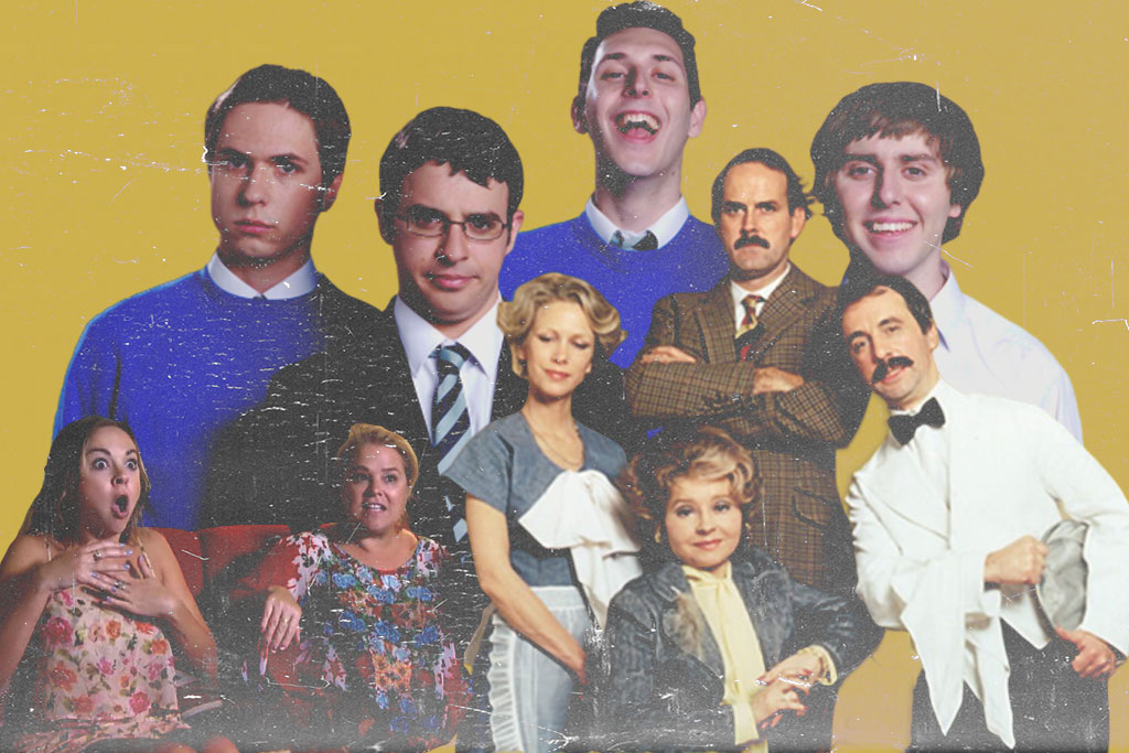 Images of inbetweeners, Goggle Box and Fawlty Towers Cast