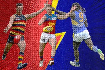Adelaide Crow, Brisbane Lion and Westcoast Eagles Players kicking a footy